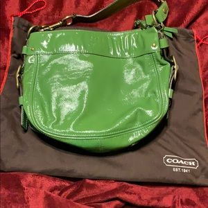 Coach Patent Leather Green Bag